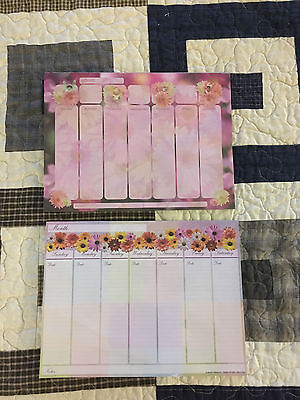 Floral Decorative Blank Weekly Calendar Pad Lot 2  Magnetic Martin Designs