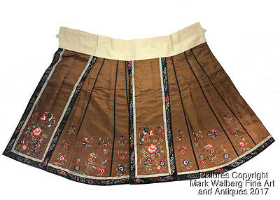 Chinese Embroidered Silk Textile Woman's Skirt, Flowers & Butterflies, 19/20th C