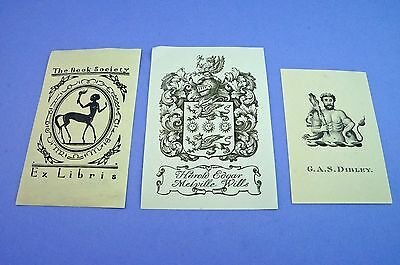 Small Collection Bookplates, Harold E.M.Wills, The Book Society, G.A.S.Dibley