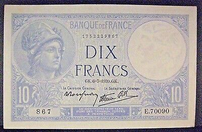 1939 France, Bank of 10 Francs, Lightly Circulated     ** Free U.S. Shipping **
