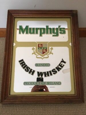 RARE Vintage Murphy's Irish Whiskey Glass Mirror Sign Wood Framed Bar Ireland