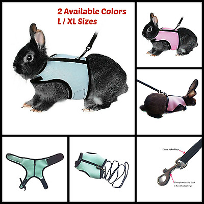 """Soft Harness With 47"""" Elastic Leash For Rabbit Bunny Pet Supply Pink / Blue NEW"""