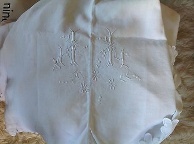 France French Antique Linen Monogrammed sheet with scalloped edge