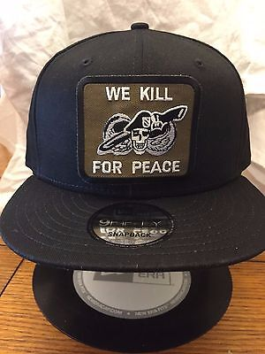 New Era NE400 Black Flat Brim Snapback Hat Cap WE KILL FOR PEACE Skull  Military 1c058dd657d7