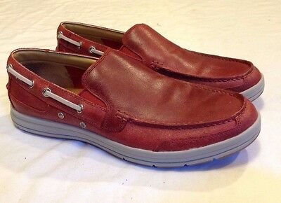 Mens COLE HAAN TRAVEL VENETIAN II Red Leather Boat Shoes Size 10.5 M