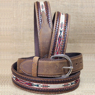 "Silver Creek 1-1/2"" Bark Brown Laced Edge Horse Hair Ribbon Leather Mens Belt"