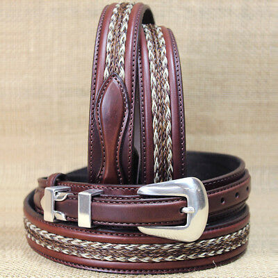 "Tony Lama Don Diego Ranger Brown 1-1/4"" Silver Plated Western Leather Mens Belt"