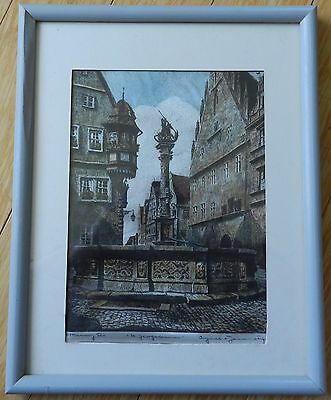 Antique Ernst Geissendorfer Framed Signed Hand Colored Etching On Fabric
