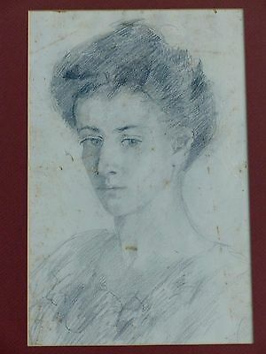 Victorian Woman Old Antique Original Pencil Portrait Drawing Sketch Head Face