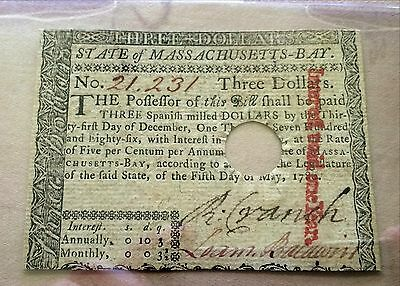 Continental Currency Three Dollars State of Massachusetts May 5, 1780 Act