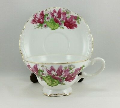 Viceroy China Iris Lilly Floral Pattern Footed Teacup and Saucer Gold Trim