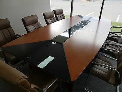 3.2m Boardroom table and 10 chairs