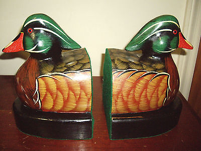 "Hand Painted "" Wood Duck "" Bookends Solid Wood"