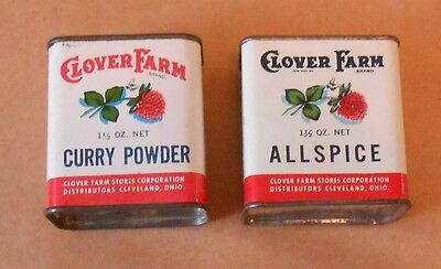 2 Vtg CLOVER FARMS SPICE TINS-CURRY POWDER & ALLSPICE--HALF SIZE TINS--CLEVELAND