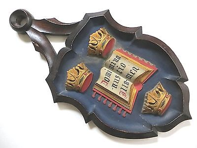 Oxford University Antiq Hand Carved Crest~E.Cross label~leafed & painted~ENGLAND