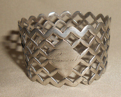 Antique Coin Silver Napkin Ring Open Work Engraved Vincent