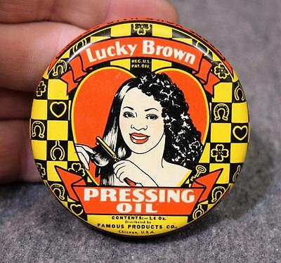 1938 Famous Products Chicago Lucky Brown Pressing Oil Tin