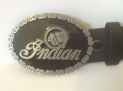 """Indian Motorcycles Buckle & Belt (All Sizes 30"""" – 50"""") Silver Indian Symbol"""
