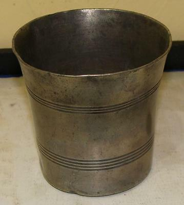 Small Antique Pewter Beaker, Flared Rim, American or English, c. 1800