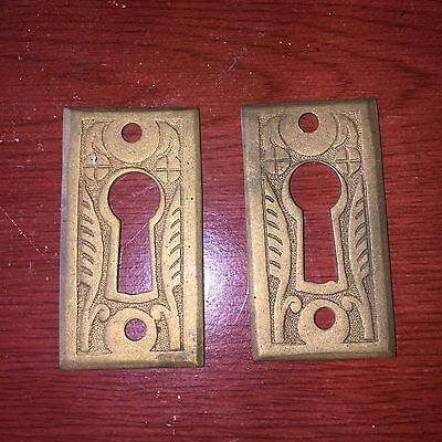 ANTIQUE Pair Of Victorian  EASTLAKE CAST BRASS KEYHOLE COVER