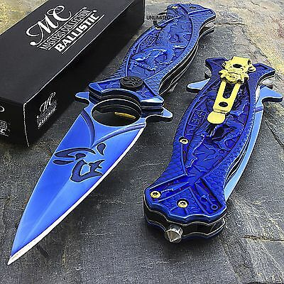 "8"" BLUE NINJA TI-COATED SPRING ASSISTED FOLDING KNIFE Blade Pocket Fantasy Open"