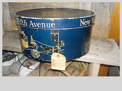 ANTIQUE 1930s DOBBS FIFTH AVE HAT BOX W/ LEATHER CARRING BELT-DOBBS FITH AVE BOX