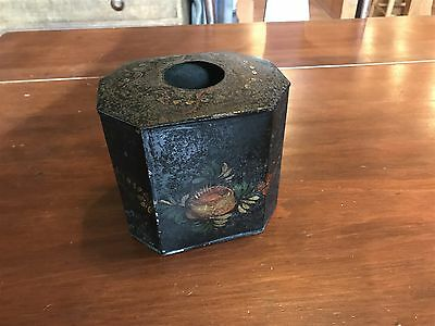 Antique Toleware Hand-Painted Tin Box W/ Hole In Top