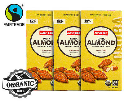 3 x    Alter Eco Dark Almond Organic Chocolate 80g