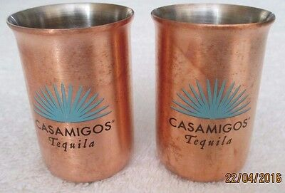 New Set of 2 Casamigos Tequila Copper Shot Glasses