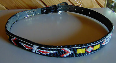 Thunder  Bird Indian Beaded Belt with Chrome Buckles. SM28 Milor.
