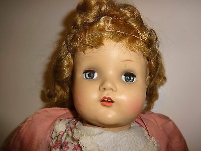 "Vintage 1950's Horsman 19"" Cry Baby Doll Sleep Eyes, Teeth As is"