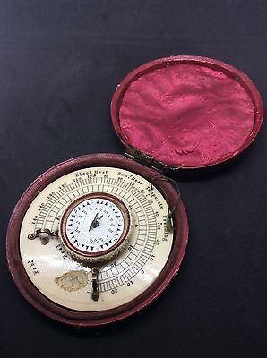 c1820 Georgian ' T Staight ' Pocket Sundial Compass Thermometer In Case A/ F