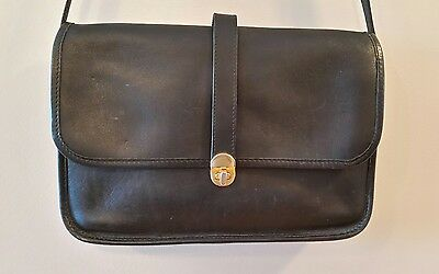 Michael Green Black Leather Crossbody Purse Messenger Bag Satchel Made in USA