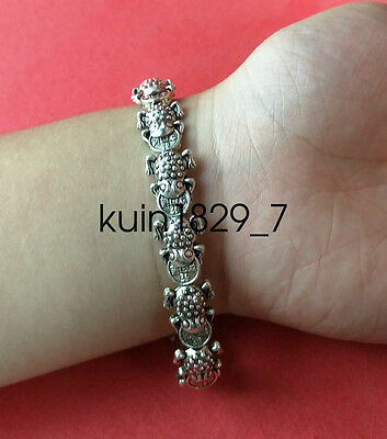 Chinese Exquisite  Miao silver frog wealth Bracelet