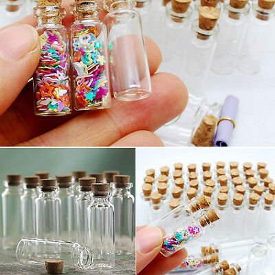 10x Blank Tiny Small Transparent Message Bottle Vial Glass Bottle With Cork 1ML