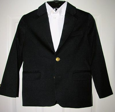 IZOD Boy's Navy Gold Button Lined Blazer Jacket w/White Button Down Shirt Sz 6