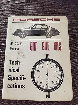 Porsche Official 911T 911E 911S Technical Specifications Book 1969-71