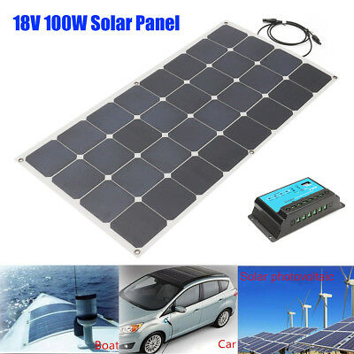 Sunpower 100W Solar Panel 18V Semi Flexible Power Generator +Solar Controller