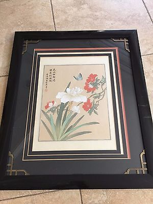 Vintage Chinese Hand Painted Flower & Butterfly on Silk, Signed, Framed
