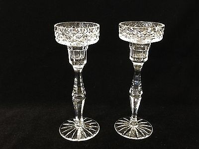 "Pair of Cut Crystal Candlesticks Holders, 7 7/8"" Tall x 2 3/4"" Diameter (Top)"