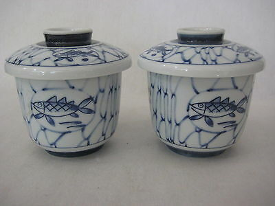 """Set Of 2 Japanese Hand Painted Blue Fishes Porcelain Teacups W/ Lid, 2 3/4"""" Tall"""