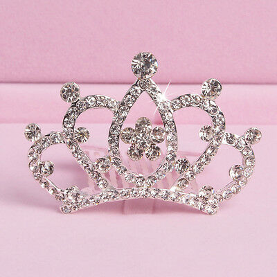 Girl Kids Rhinestone Princess Hair Clip Wedding Crown Hairpin Comb Tiara Cheap
