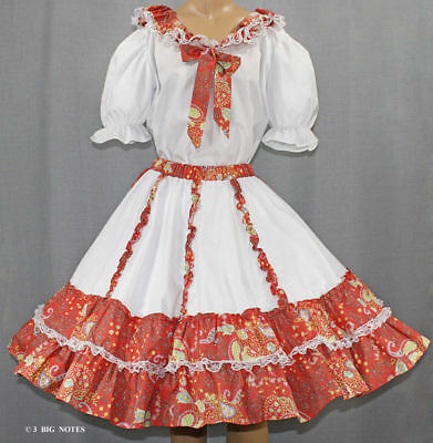 WHITE & TANGERINE PAISELY FLOWER SQUARE DANCE OUTFIT SiZe Medium