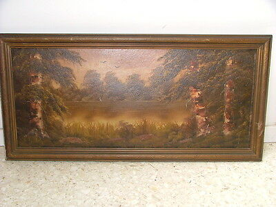 Vintage Oil Landscape BIRCH TREES on Riverbank With Artist Initials Maybe AW