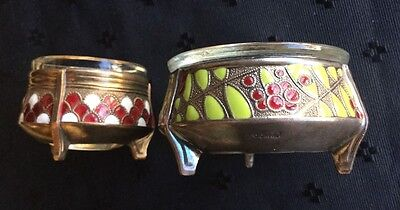 Vintage Salt Cellars Glass Insert Cloisonne Silver plate Russia USSR - Lot Of 2