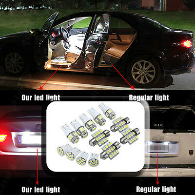 13x Auto Car White LED Light Interior Package T10 Festoon Map Dome License Plate