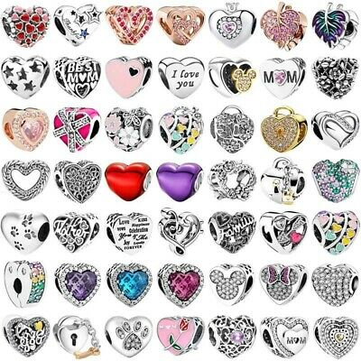 European 925 Silver Charms Love heart Beads Pendant Fit Sterling bangle Bracelet