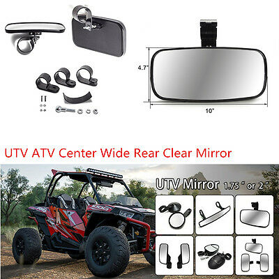 Universal UTV Off Road Center Wide Rear Clear Mirror Adjustable Bracket 1.5-2''