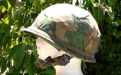 US Army WW2 style Late 1970s to 1980s M-1 Helmet with Camouflage Cover & Band