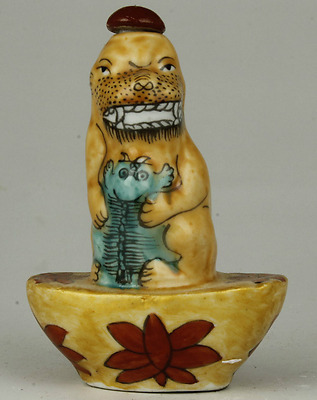 Rare Old Chinese Porcelain Lion Statue Snuff Bottle